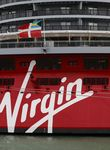 The Virgin Voyages Scarlet Lady cruise liner sits docked at Dover Port in Dover