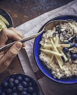 Homemade Apple Blueberry Porridge with Honey