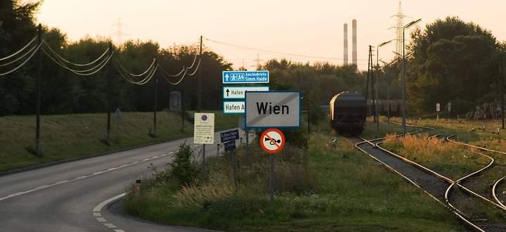 Die Wienser Stadtgrenze in Simmering.