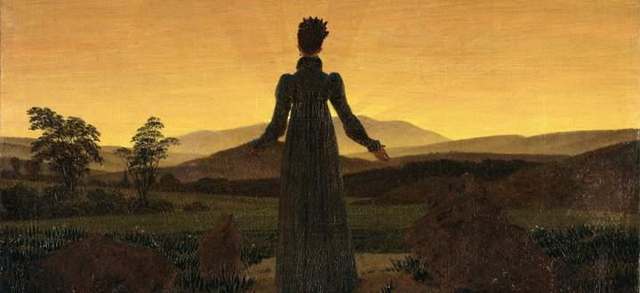 """""""Eine Frau bei Sonnenauf- oder -untergang"""" – da war sich Caspar David Friedrich wohl selbst nicht so sicher."""