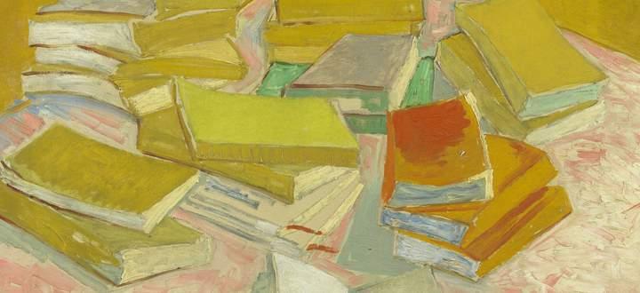 """Unhygienisch, ja gefährlich fanden viele das Ausleihen von Büchern. Van Gogh, """"Stapel französischer Romane"""", 1887."""