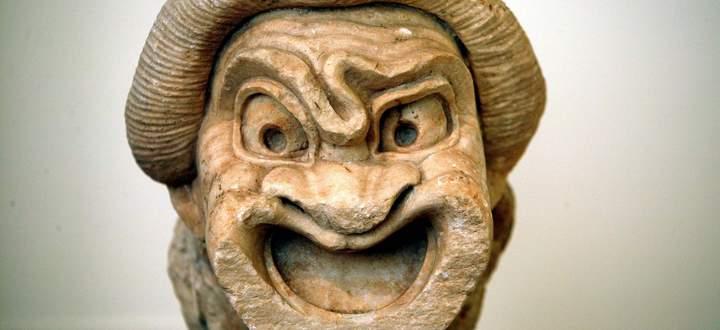Die Maske eines Komödianten (zweites Jh. v. Chr.) im Archäologischen Nationalmuseum in Athen.