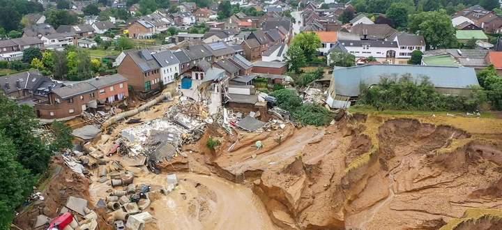 Das Gebiet um Erftstadt-Blessem wurde von der Flut schwer getroffen