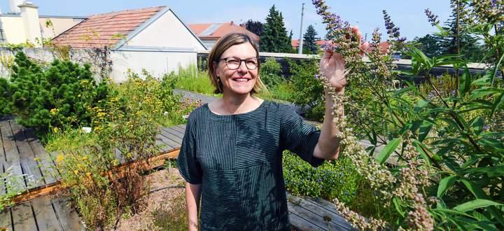"""Sylvia Schalgintweit im Kräutergarten auf dem Dach der Apotheke """"Zum Löwen von Aspern"""""""
