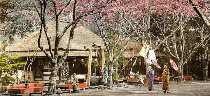 Teehaus im Ueno Park, um 1890.