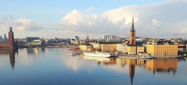 Der Blick vom Monteliusvägen auf Stcokholms Altstadt.