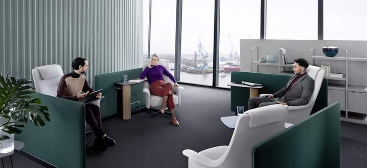 Sicher ist sicher: Meetingraum-Interieur von Bene sorgt für gebührenden Abstand.