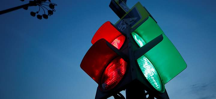 Traffic lights are seen in central Moscow