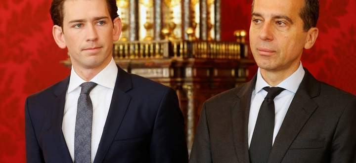 Austria's Foreign Minister Kurz and Chancellor Kern attend the new Vice Chancellor's and new Economics Minister's inauguration ceremony in Vienna