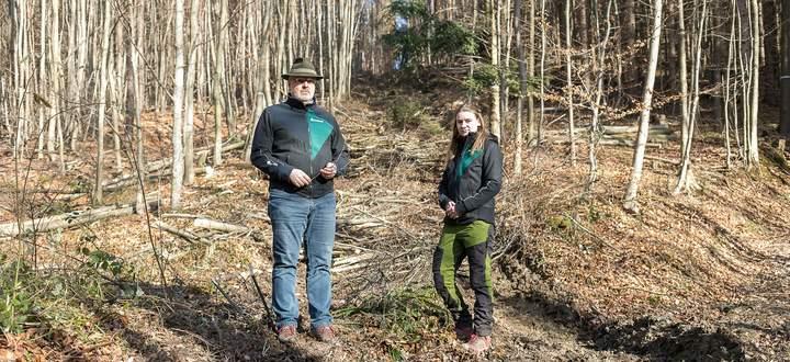 Johannes Wimmer, der Leiter des Bundesforste- Forstbetriebs im Wienerwald und ÖBf-Forstassistentin Katharina Plattner.