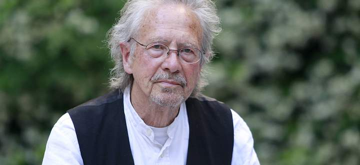 German writer Peter Handke poses for the media during an interview held in Madrid Spain on 22 May 2
