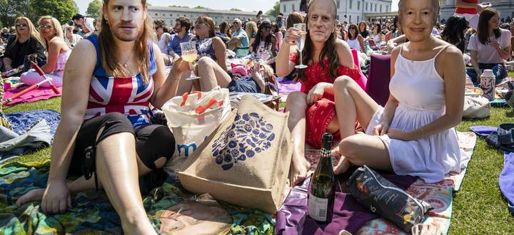 May 19 2018 London London UK London UK Wellwishers celebrate the Royal Wedding at an outdoo