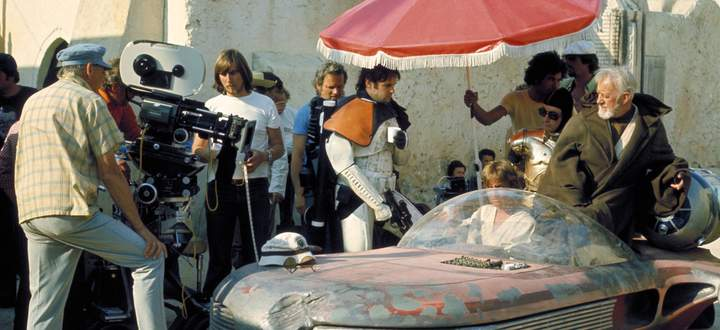 Shooting the Jedi mind trick sequence in Tunisia in Star Wars Episode IV A New Hope 1977 Hollywoo