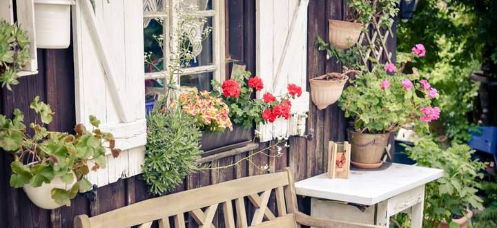 Gemütlich: Sitzbank vor dem Gartenhaus.