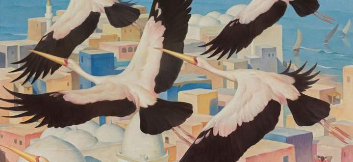 """Bei der einzigen Fernreise der Tiermalerin Norbertine Bresslern-Roth entstand das Bild """"Afrikanische Stadt"""". Geschätzt wird es auf 100.000 bis 200.000 Euro."""