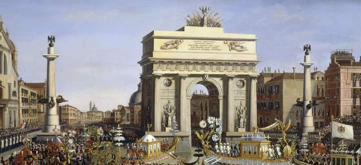 Napoleon kam nur einmal nach Venedig, das dafür mit großem Getöse: Einzug am 29. November 1807. Ein Gemälde des Venezianers Giuseppe Borsato.