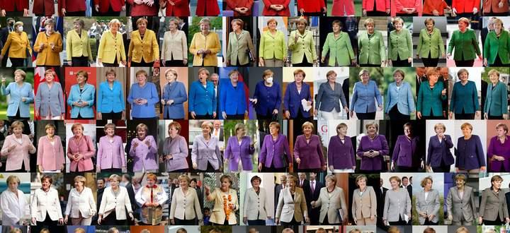 Angela Merkel in allen Farben, Schattierungen und Phasen ihrer 16-jährigen Kanzlerschaft. Ihrem Stil – politisch wie modisch – blieb sich die erste deutsche Regierungschefin treu. Zuweilen war sie aber auch für Überraschungen gut.