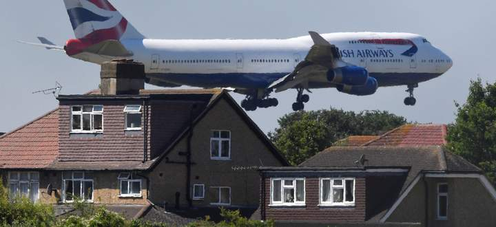 A British Airways Boeing 747 comes in to land at Heathrow airport in London