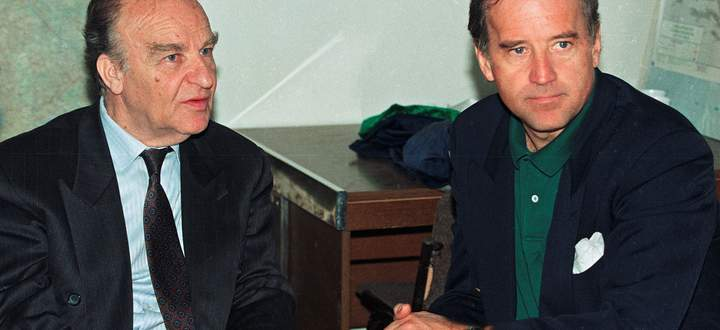 Sen. Joe Biden speaks with Bosnian President Alija Izetbegovic in Sarajevo