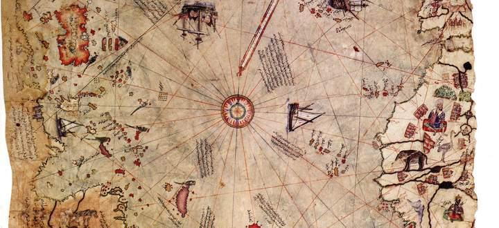 Wo bleibt hier das Bilderverbot? Die Karte des osmanischen Piraten und Admirals Piri Reis, entstanden kurz nach der Entdeckung Amerikas, zeigt viele Tiere und andere Wesen.