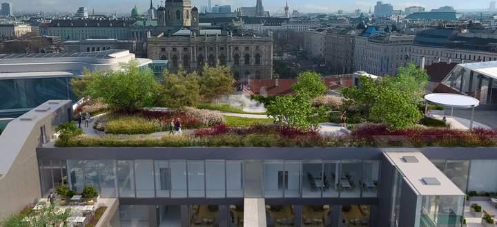 Ein Dachgarten in Wien als Anziehungspunkt und Frequenzbringer für das neue Kaufhaus, verantwortet vom Büro DnD.