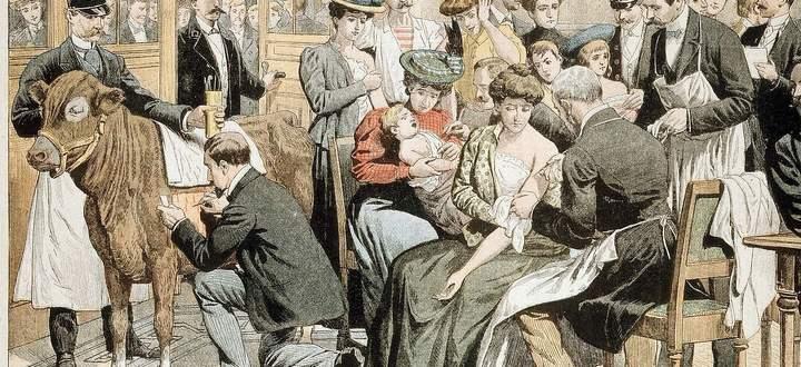 Darstellung einer Pockenimpfung in Paris, 1905