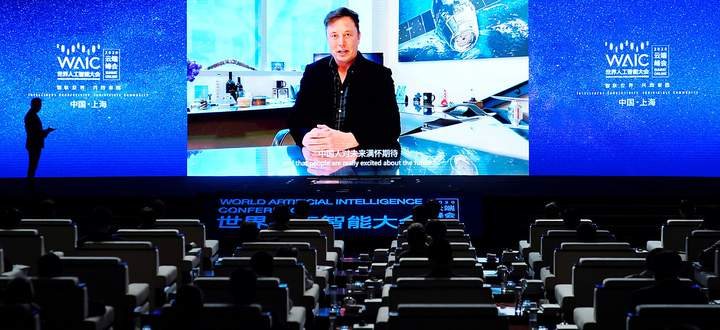 Elon Musk bei einer Liveschaltung zur World Artificial Intelligence Conference vergangene Woche
