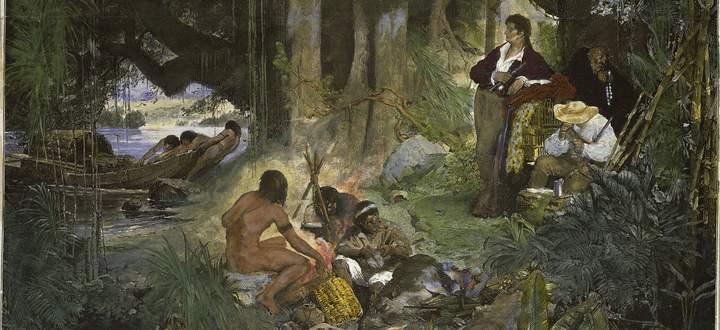 Alexander von Humboldt bei seiner Reise durch den tropischen Regenwald des Amazonas (1799–1804).