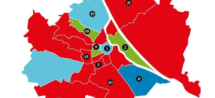 Viele der 23 Wiener Bezirke sind heiß umkämpft.