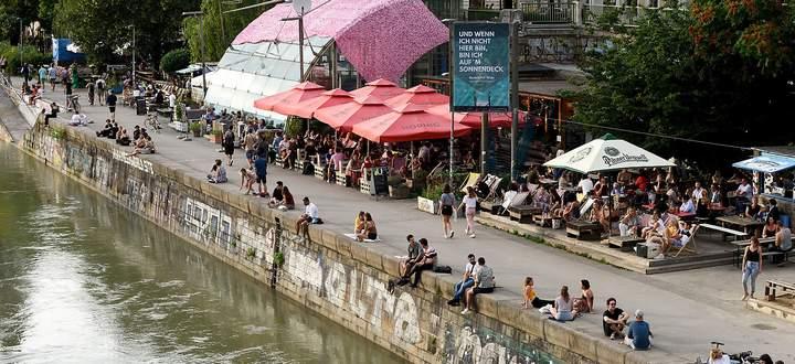 Archivbild aus dem Jahr 2020: Gastronomie am Donaukanal in Wien.