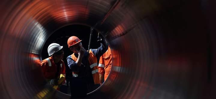 Archivbild der Bauarbeiten der Gaspipeline Nord Stream 2 in Russland.