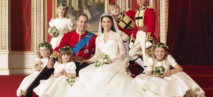 File photograph shows Britain´s Prince William and his bride Catherine, Duchess of Cambridge, posing for an official photograph on the day of their wedding, in central London