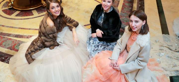 MOSCOW, RUSSIA NOVEMBER 18, 2019: Girls in evening gowns before Tatler Debutantes Ball 2019, at the Ritz-Carlton Hote