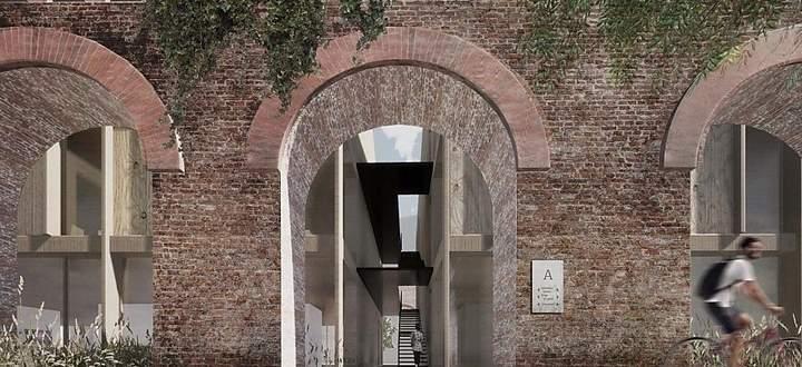 Eingangsbereich mit Holzbau im Inneren.