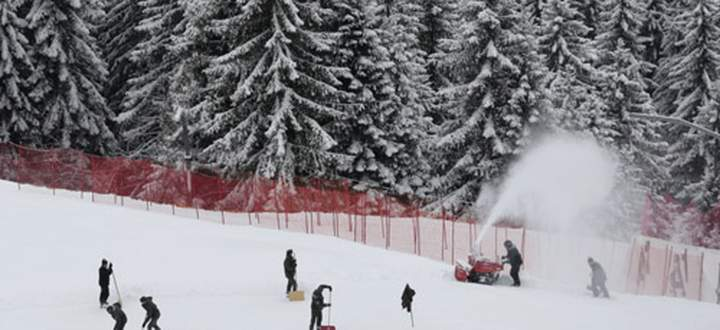 General view of the men´s Alpine skiing downhill course covered with a thin layer of snow in Kitzbuehel