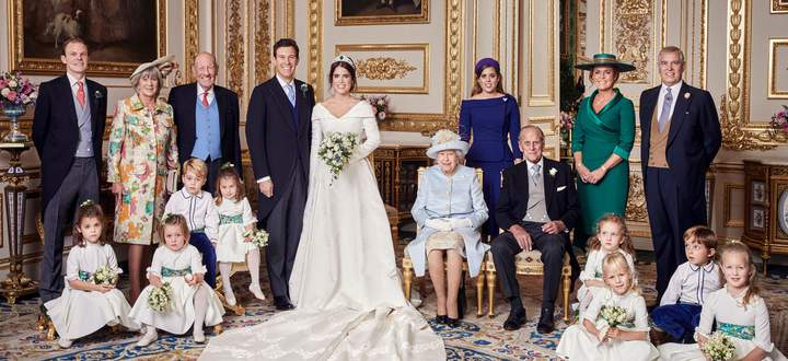 This official wedding photograph released by the Royal Communications shows Princess Eugenie and Jack Brooksbank in the White Drawing Room, Windsor Castle, Windsor