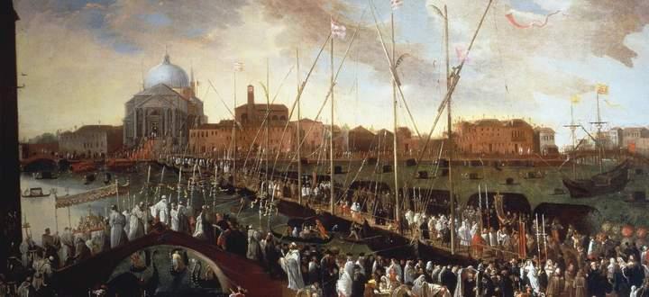 Jedes Jahr im Juli beging Venedig auf der Pontonbrücke vor der Kirche Il Redentore eine Prozession zur Erinnerung an die Pest von 1576. Gemälde von Joseph Heintz.