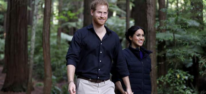 Prinz Harry und Herzogin Meghan auf royaler Tour im Redwoods Tree Walk in Neuseeland, 2018