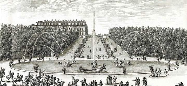 Der Drachenbrunnen in Versailles auf einer zeitgenössischen Darstellung.