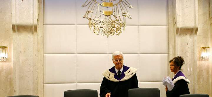 Austrian Constitutional Court Chief Justice Holzinger his deputy Bierlein arrive for a court session in Vienna