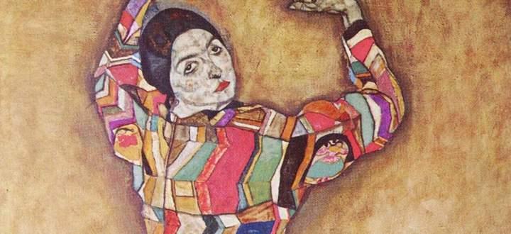 Entrückt, tänzerisch: Schieles Porträt der F. Beer, 1914 (Ausschnitt).