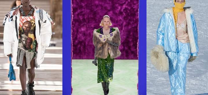 Das Defilee von Louis Vuitton wurde aus dem leeren Louvre übertragen, Prada brachte Haptik auf den Computerscreen, und Miu Miu erforschte die Bergwelt (v. l.).