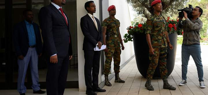 Ethiopian Prime Minister Abiy Ahmed Ali waits for the arrival of U.S. Secretary of State Mike Pompeo at the Prime Minister office in Addis Ababa