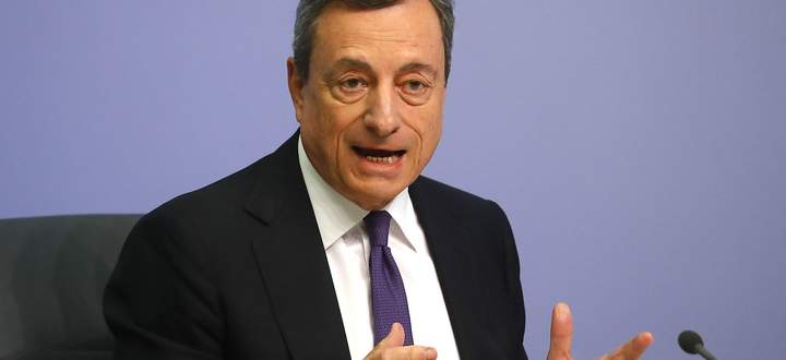 ECB President Draghi speaks during news conference following the governing council's interest rate decision at the headquarters in Frankfurt