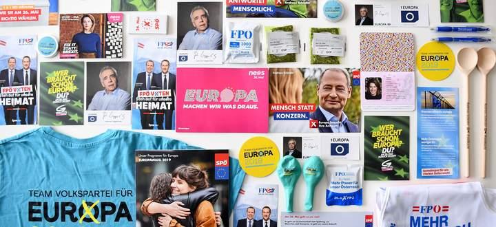 Archivbild: Werbegeschenke der Parteien im vergangenen Europawahlkampf