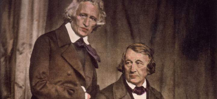 Der philologische Brummbär und der Salonlöwe: Jacob (stehend) und Wilhelm Grimm, um 1850.