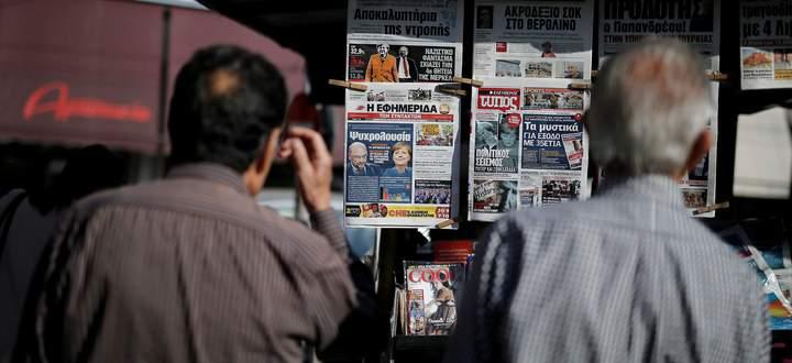 Ein Blick auf griechische Zeitungskioske.