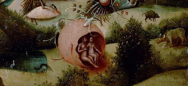 Sitzt das erste Paar in einem Ei? Kleine Tafel eines Nachahmers von Hieronymus Bosch, nach 1539.