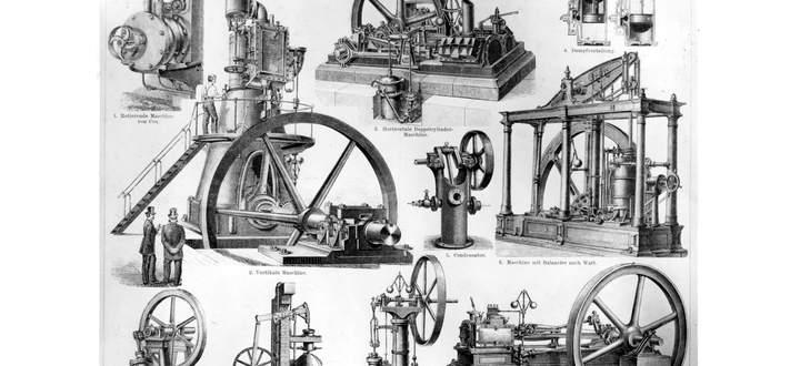 Dampfmaschinen (hier in einem alten Lexikon) verwandeln Wärme in mechanische Arbeit, was nie vollständig möglich ist, es geht immer Wärme verloren, das sagt der zweite Hauptsatz der Wärmelehre.