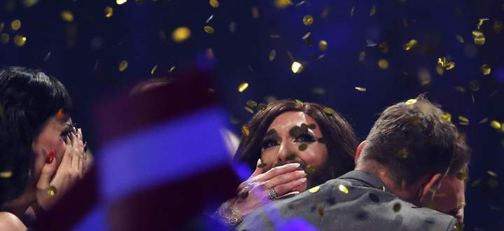 Conchita Wurst representing Austria reacts after winning the grand final of the 59th Eurovision Song Contest in Copenhagen